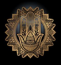 Hamsa talisman religion asian gold gradient color vector