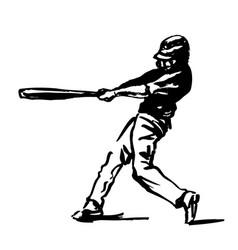 hand sketch baseball player vector image