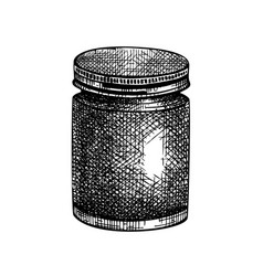 Hand-sketched aromatic candle in glass jar vector