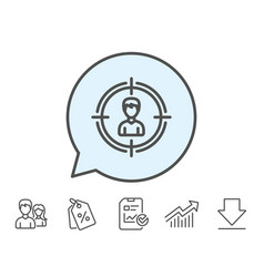 Head hunting line icon business target sign vector
