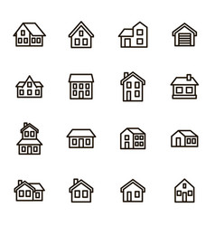 home signs black thin line icon set vector image