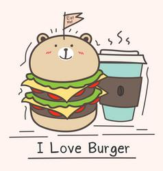 I love burger concept with cute bear burger vector