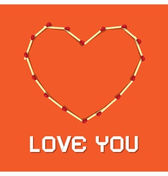 I Love You Theme Safety Matches Heart on Orange vector image vector image
