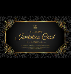 invitation card - black and gold vintage style vector image