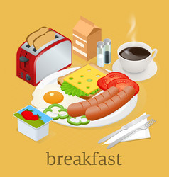 isometric breakfast and kitchen equipment icons vector image