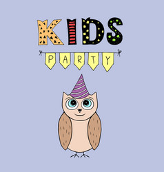 kids party lettering party with baby owl vector image