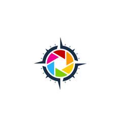 Lens compass logo icon design vector