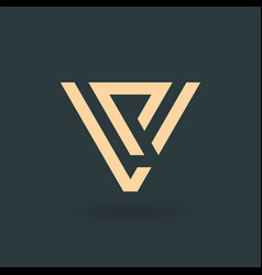 Letters vp or pv geometrical triangle or arrow in vector