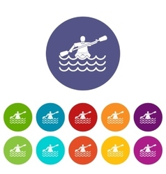 Male athlete in a canoe set icons vector image