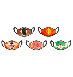 Medic masks with animal muzzles cute cartoon pets vector