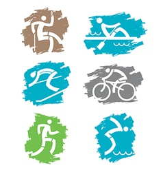 Outdoor sport grunge icons vector image