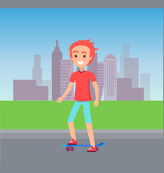 person skating at city street vector image