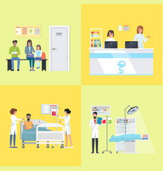 Reception and patients on vector