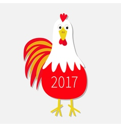 Red Rooster Cock bird New Year text symbol Chinese vector