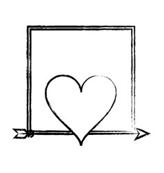 romantic frame with heart sketch vector image