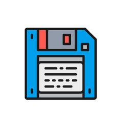 Save diskette floppy disc flat color line vector