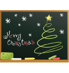 school blackboard with christmas tree vector image