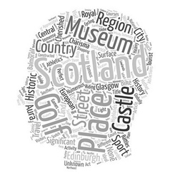 Scotland travel guide text background wordcloud vector