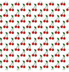 seamless pattern with red cherry on white vector image