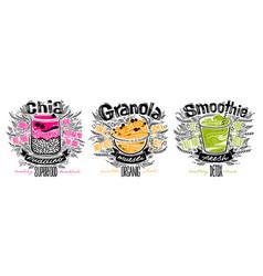Set chia pudding granola smoothie vector