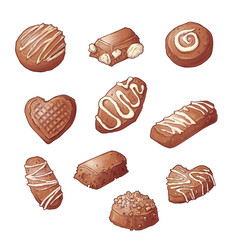 set chocolate candies hand vector image