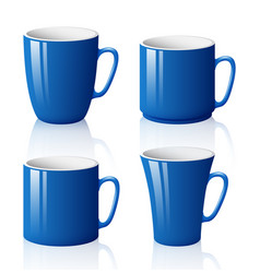 set of blue cups isolated on white background vector image