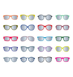 set of color glasses isolated icons vector image