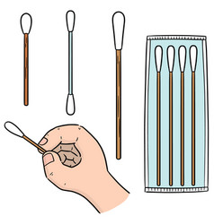 set of cotton swab vector image