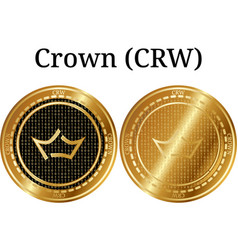 Set of physical golden coin crown crw vector