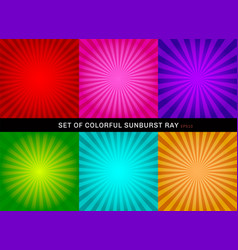set of retro shiny colorful starburst background vector image