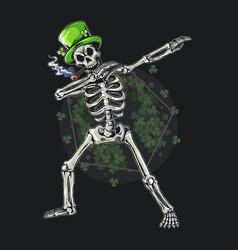 skull st patricks day dabbing editable layers vector image