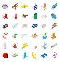 Small vacation icons set isometric style vector