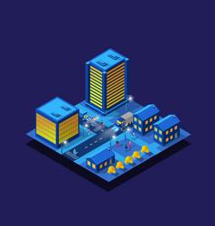 smart city night neon ultraviolet set buildings vector image