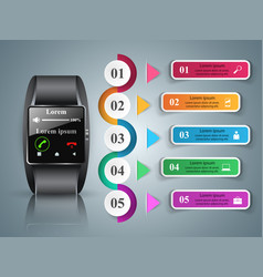 smartwatch icon abstract infographic vector image