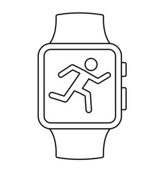 smartwatch running mode icon outline style vector image