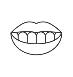 Smile teeth simple outline icon vector