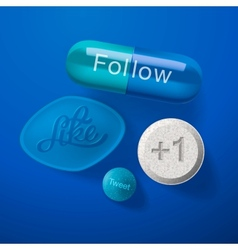 Social media addiction concept pills capsules vector image