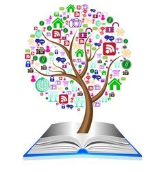 Social media icons set in tree shape vector