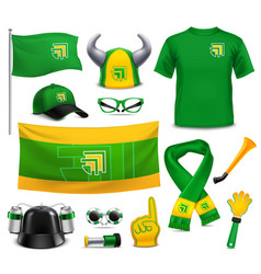 Sport fans supporters realistic accessories vector