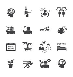 Stressed and refreshing icons set vector