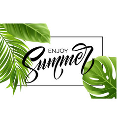 Summer poster with tropical palm leaf and vector