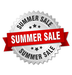Summer sale 3d silver badge with red ribbon vector