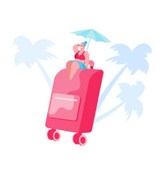 summer time vacation tiny female character in vector image