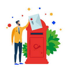 The man puts the letter in the mailbox vector