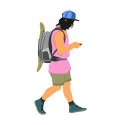 tourist with backpack and skateboard walking vector image