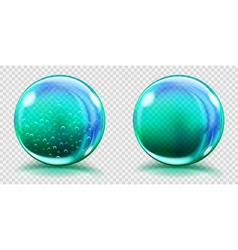 Two big light blue glass spheres vector