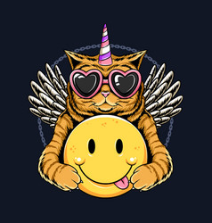 Unicorn cat angel wings and holding smile emoticon vector