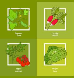 Vegan farmer market card with fresh vegetables vector