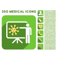 Virus Lecture Icon and Medical Longshadow Icon Set vector