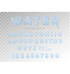 Water font design transparent glossy abc letters vector